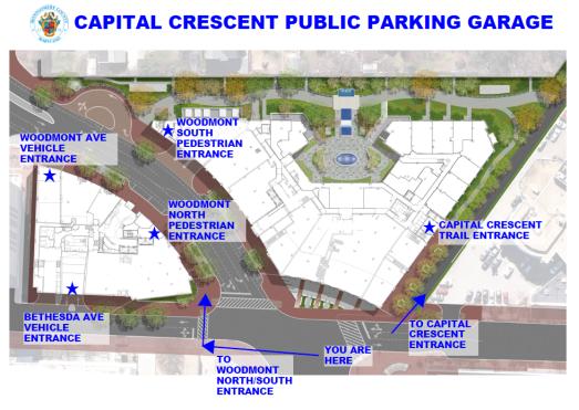 Capital Crescent Garage entrances
